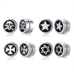 $enCountryForm.capitalKeyWord Australia - Skull Star Cross Pattern Ear Clip for Men Stainless Steel Stud Earrings Male Punk Jewels