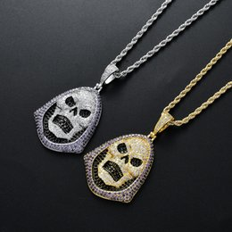 $enCountryForm.capitalKeyWord Australia - Iced Out Solid Black Death Skull Pendant Necklace Micro Paved Lab Zircon White Gold Plated Mens Hip Hop Jewelry Gift