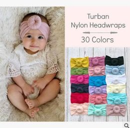 fabric for headbands 2019 - Baby Turban Nylon Headwraps 2019 Turban Popular Hair Bow Headband For Girls Headwrap Textured Fabric Elastic Kids DIY Ha