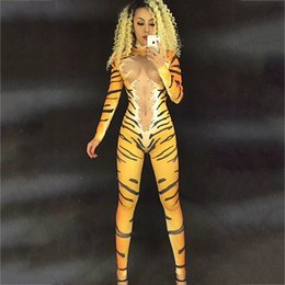 Sexy Pole Dancing Australia - Tiger Leopard Crystals Outfit Singer Bodysuit Dancer Nightclub Cosplay Performance Elastic Pole Dance Sexy Women Jumpsuit DJ176
