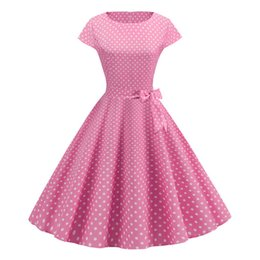 Wholesale 50s fashion dresses for sale - Group buy Pink Dot Summer Dress New Fashion Short Sleeve O neck s s Retro Vintage Pinup Rockabilly Knee Length Dress Casual Swing