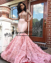 Mermaid Prom Dresses Opened Front Australia - Gorgeous 2k17 Pink Long Sleeve Prom Dresses Sexy See Through Long Sleeves Open Back Mermaid Evening Gowns South African Formal Party Dress