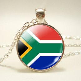 Top China Wholesale Fashion Jewelry Australia - Fashion Top Quality South Africa National Flag World Time Gem Glass Cabochon Charm Pendant Necklaces Long Chain Choker Jewelry For Women Men