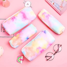 cosmetic bags hearts wholesale Australia - OFZBt Artistic blue cute hipster artistic makeup female girl heart fantasy colorful series pencil stationery storage cosmetic storage bag ba