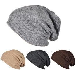 Wholesale Warm Winter Beanie Hat Casual Cotton Knit Hats For Women Men  Baggy Crochet Slouchy Oversized Ski Cap Warm Beanie Hats b29e90d764eb