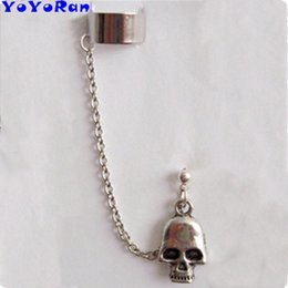Indian Ear Chain Australia - 12pcs lot wholesale Gothic skeleton chain ear cuff clip earring man woman silver metal Punk skull head tassel chain ear-hook hang jewelry