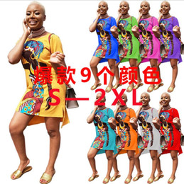 Sexy Girl Print Shirt Australia - Women's O Neck Short Sleeve 3D African Girl Printed Casual Summer Mini Dress Side Slit Hip Hop Street Club Above Knee T-shirt Dress