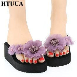 $enCountryForm.capitalKeyWord Australia - HTUUA Fashion Handmade Flower Slippers Women Slides Boho Beach Flip Flops Summer Ladies Shoes Wedge Heel Platform Sandals SX2111