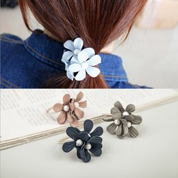Indian Hair Rubber Bands Australia - Hair Rubber Bands Wholesale Brand New Fashion Women Elegant Imitation Pearl Fabric Flowers Hair Jewelry LHR012
