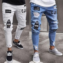 Wholesale black jeans gold zippers mens resale online - Jeans Men Hip Hop Ripped Patchwork Sweatpants Skinny Motorcycle Denim Pants Zipper Designer Black Jeans Mens Casual Men