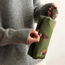 Green Cosmetic Bag Wholesale Australia - Neceser De Maquillaje Cartoon Printing Cosmetic Bag Case Novelty Canvas Pencil Case Make Up Bag Portable Multifunction Organizer