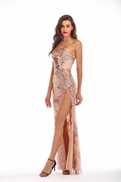 $enCountryForm.capitalKeyWord Australia - 2019 European and American Sequins Sexy Backless Shoulder Zipper Evening Dress Party Dating or Meeting High Slit Long Dress