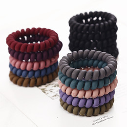 $enCountryForm.capitalKeyWord Australia - 5PCS Frosted Colored Telephone Wire Elastic Hair Bands For Girls Headwear Ponytail Holder Rubber Bands Women Hair Tools