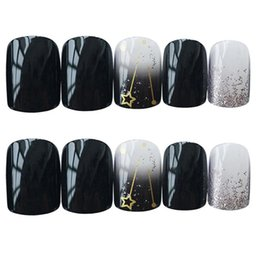 Nail acrylic 24 online shopping - 24 Shiny Fake Nails Star Moon Decor Wearable Artificial Acrylic Short False Nail Patches for Party