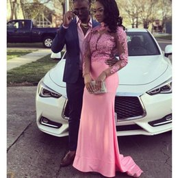Discount nigeria bridesmaid dress lace - African Nigeria Pink Mermaid Prom Dresses with Lace Appliques Long Sleeve Evening Dresses High Neck Bridesmaid Gowns For