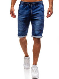 стиль точки джинсы оптовых-Mens Short Jeans Slim Fit Straight Stretch Five point Summer Casual Style New Type European And American Wind Pants