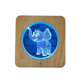 best christmas gifts for babies NZ - Wooden Carving Acrylic Lamp LED Elephant Baby 3D Night Light 7 Colors Animal Elephant Baby for Home Decoration Lamps Best Gift for Child...