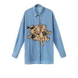 $enCountryForm.capitalKeyWord UK - 2019 New Women Tops Denim Shirt Long Sleeve Embroidery Three Little Pig Loose Jacket Long Thin Womens Designer Clothing