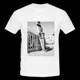 Mens Beach Bikini NZ - Sharon Tate White Mens Retro Vintage T-shirt Tee Bikini Long Board Mal Beach 60s