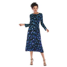$enCountryForm.capitalKeyWord UK - Long Skirt For Womens Diamond Print Long-sleeved Dress Slim Chiffon Pleated Dresses Autumn And Winter Eur Size M-xl