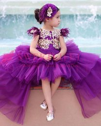purple feather skirt Australia - 2019 New Purple Gilrs Pageant Dresses Cape Sleeve Feather Hi Low Ruffles Tiered Skirts Tulle Flower Girls Dresses Custom Made Hot Sale