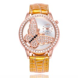 Glass butterfly dresses online shopping - fashion women ladies butterfly pattern diamond leather watches lady dress quartz gift Bamboo grain wrist watches