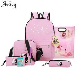 Design Canvas Print Australia - Aelicy Luxury 8 Pcs Cute Animal Star Printing Backpack Canvas Backpack Schoolbag For Girls Rucksack New Design Mochila Feminina Y19051405