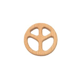 $enCountryForm.capitalKeyWord Australia - 4pcs Beech Wooden Peace sign Teether Baby Teethers Infants Teething Toys Baby Accessories For Baby Necklace Making
