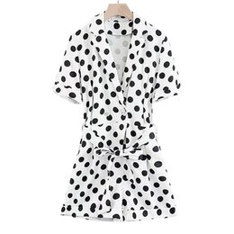 $enCountryForm.capitalKeyWord NZ - Women Retro Dot Print Playsuits V Neck Bow Tie Sashes Pockets Short Sleeve Rompers Ladies Casual Cute Jumpsuits