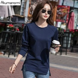 Lady T Shirts Full Australia - Akumanomi Women White Solid All-match O-neck T-shirt Female Casual Drop Shoulder Full Sleeve Tees Ladies Loose Tops Brand New
