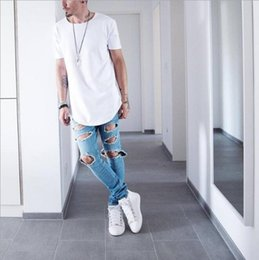 wicking shirts wholesale 2019 - Men's T Shirt Kanye West Extended T-Shirt Men's clothing Curved Hem Long line Tops Tees Hip Hop Urban Blank Ju