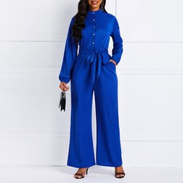 elegant plus size rompers 2019 - Women Jumpsuits Casual Blue Elegant Office Lady Club Red Spring Slim Wide Legs Solid Button Plus Size Female Fashion Red