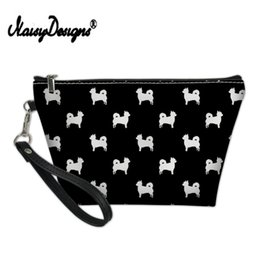 wholesale clutch bags Australia - Noisydesigns Fashion Women PU Leather Makeup Cosmetic Zipper Bags Cartoon Chihuahua Print Travel Ladies Clutch Girl Pencil Case