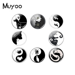 $enCountryForm.capitalKeyWord Australia - 2019 New Yinyang Dog Jewelry Cabochons Handmade Black White Dogs Pentagram Glass Dome Cabochon Cheap Make Snap Button Jewelry