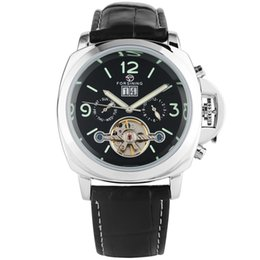 Unique Watches For Men Australia - Casual Black Leather Band Watch for Men Classic Automatic Mechanical Watches Unique Luminous Arabic Numerals Dial with Calendar Wristwatch