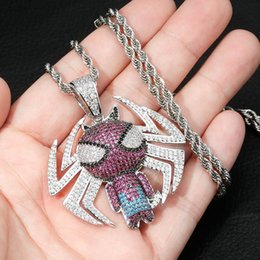 Spiderman necklaceS online shopping - Top Quality White Gold Full CZ Cubic Zirconia Colorful Cartoon Spiderman Mens Twisth Chain Necklace Hip Hop Rapper Jewelry Gifts for Guys