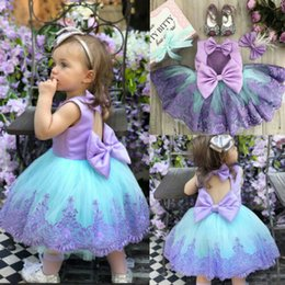 Formal Military Ball Gowns Australia - Kids Baby Girls Pageant Party Princess Formal Ball Gown Sleeveless Bridesmaid Wedding Dress Purple Dress Cute Lace
