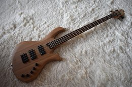 elm solid wood UK - Factory Natural wood Color Electric Bass Guitar with 4 Strings,Elm Body,Black Hardware,High Quality,Can be Customized