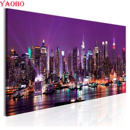 $enCountryForm.capitalKeyWord Australia - 5D DIY Diamond Painting New York city night view Full Square Drill Embroidery landscape 3d pictures Cross Stitch Mosaic Decor