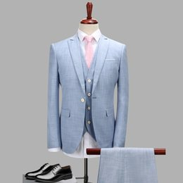 $enCountryForm.capitalKeyWord Australia - 3pc Suit Men Spring Autumn New 2018 Light Blue Wedding Dress Suits Plus Size Business Casual Formal Wear Blazer Men Tuxedo 4XL-S
