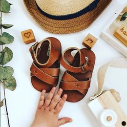 brown toddler sandals Canada - Donsje Real Cowhide Made High Quality Baby Boys Girls Sandals Toddler Summer Shoes CY200512