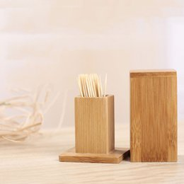toothpick holder wholesale Australia - 1 Pc Bamboo Toothpick Holder With Square Tank Lid Secret Stash Toothpick Box Container Dispenser Home Table Decoration