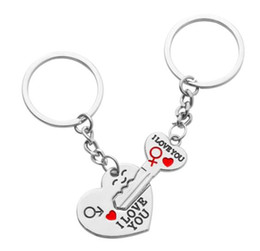 "Men Silver Chain Set NZ - 1 Set Cute Couples Lovers Metal Silver Key fob Chain Ring Metal Heart+Arrow ""Key To My Heart"" I LOVE YOU Lovers Gifts Jewelry"