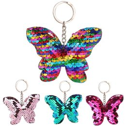 butterfly key Australia - Car Sparkling Colorful Sequins Butterfly Shape Pendant Keychain Car Key Ring Holder Hanging Decoration Keychain Sequins Decor 12