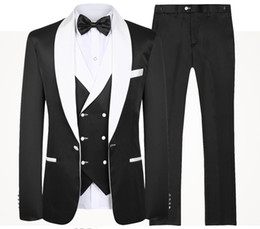 $enCountryForm.capitalKeyWord NZ - Blue Men Wedding Suits New Brand Fashion Design Real Groomsmen White Shawl Lapel Groom Tuxedos Mens Tuxedo 3 Piece Wedding Prom Suits