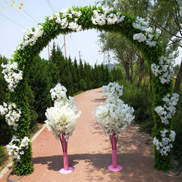 Metal arch online shopping - New M height Wedding Centerpieces green plant metal wedding flower arch with Milan Grass for wedding backdrop party decorations supplies