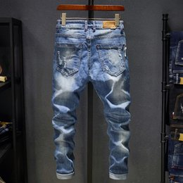 Wholesale new korean man jeans casual resale online – designer 2018 New Men s Jeans Ripped Holes Korean Style Elasticity Casual Trousers Cool Stretch Man Denim Pants Spring C19040401