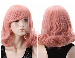 HealtHy wigs online shopping - Cosplay Harajuku Anime Halloween Girl Short Curly Healthy Hair Pink Full Wig for women wig