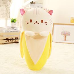$enCountryForm.capitalKeyWord Australia - Creative Cat in Banana Plush Stuffed Animals Toy Kids Baby Girl Huggable Banana Shaped Cat Doll Fruits Kitty Plush Toy