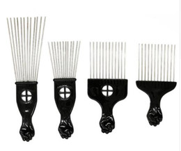 $enCountryForm.capitalKeyWord NZ - Wide Teeth Salon Use Black Metal African American Pick Comb Insert Curly Hairbrush Afro Hair Comb For Hairdressing Styling Tool